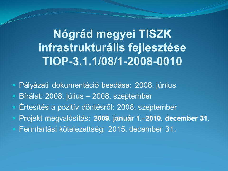 Nógrád megyei TISZK infrastrukturális fejlesztése TIOP-3.1.1/08/1-2008-0010 A projekt költségvetése: 998.200.000 Ft Vissza nem térítendő támogatás: 898.200.000 Ft Önerő: 100.000.000 Ft