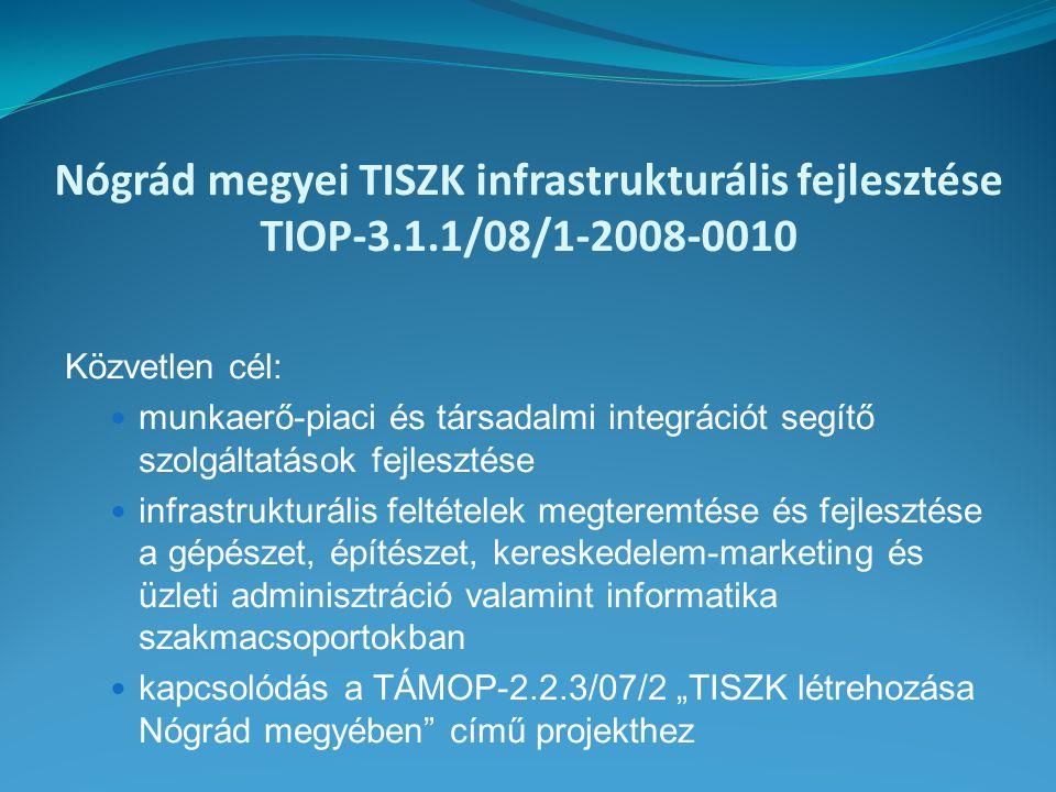 """Nógrád megyei TISZK infrastrukturális fejlesztése TIOP-3.1.1/08/1-2008-0010 Közvetlen cél: munkaerő-piaci és társadalmi integrációt segítő szolgáltatások fejlesztése infrastrukturális feltételek megteremtése és fejlesztése a gépészet, építészet, kereskedelem-marketing és üzleti adminisztráció valamint informatika szakmacsoportokban kapcsolódás a TÁMOP-2.2.3/07/2 """"TISZK létrehozása Nógrád megyében című projekthez"""