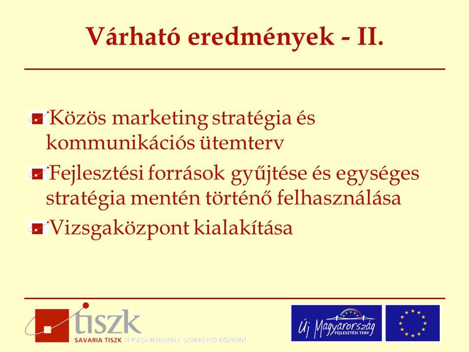 Várható eredmények - II. Közös marketing stratégia és kommunikációs ütemterv Fejlesztési források gyűjtése és egységes stratégia mentén történő felhas