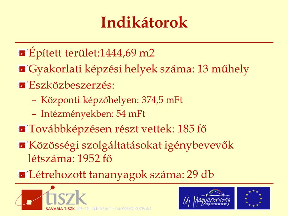 Indikátorok Épített terület:1444,69 m2 Gyakorlati képzési helyek száma: 13 műhely Eszközbeszerzés: –Központi képzőhelyen: 374,5 mFt –Intézményekben: 54 mFt Továbbképzésen részt vettek: 185 fő Közösségi szolgáltatásokat igénybevevők létszáma: 1952 fő Létrehozott tananyagok száma: 29 db