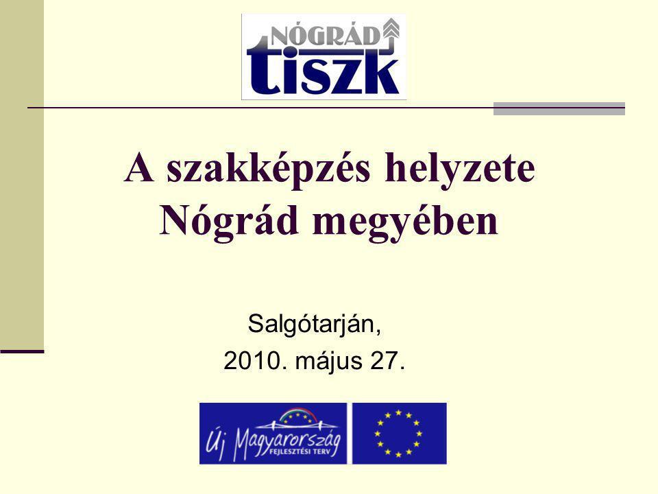 A szakképzés helyzete Nógrád megyében Salgótarján, 2010. május 27.