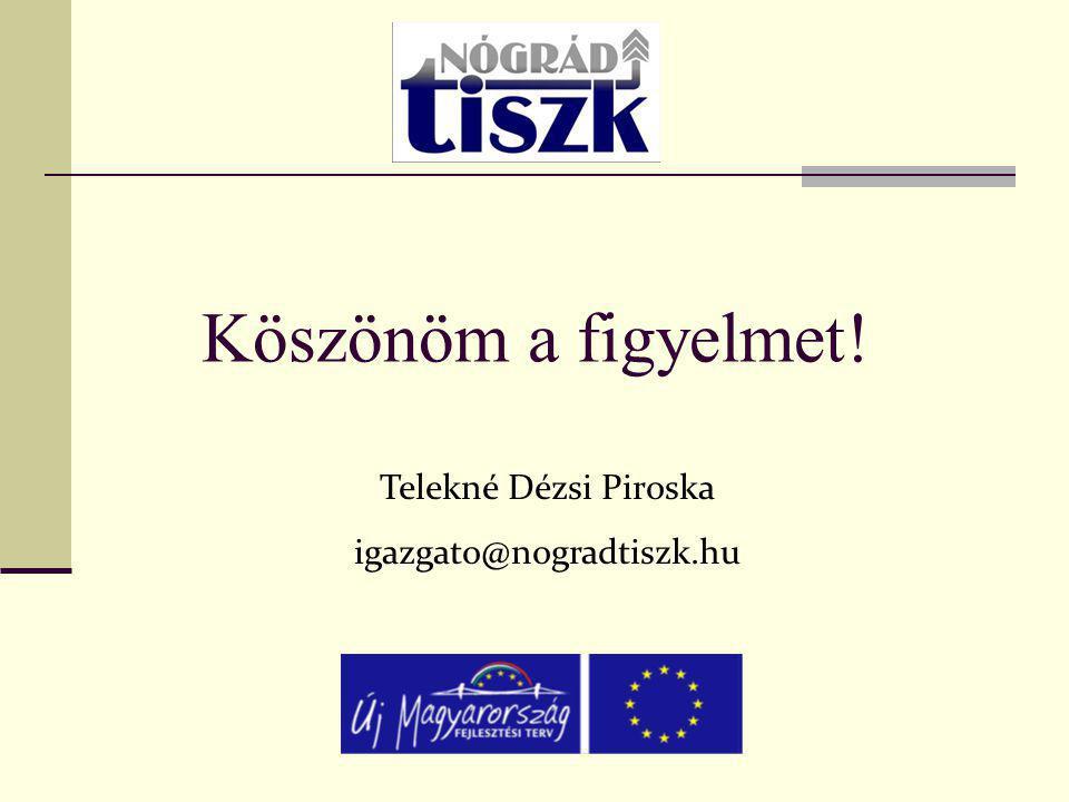 Köszönöm a figyelmet! Telekné Dézsi Piroska igazgato@nogradtiszk.hu
