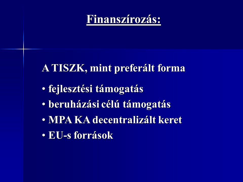 Finanszírozás: A TISZK, mint preferált forma fejlesztési támogatás fejlesztési támogatás beruházási célú támogatás beruházási célú támogatás MPA KA de
