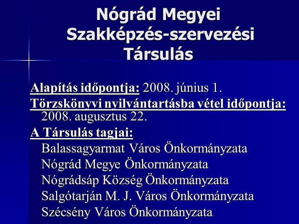 Nógrád Megyei Szakképzés-szervezési Társulás Alapítás időpontja: 2008. június 1. Törzskönyvi nyilvántartásba vétel időpontja: 2008. augusztus 22. A Tá