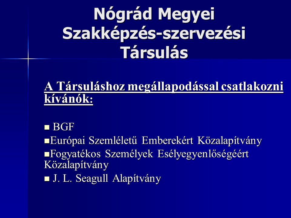 Nógrád Megyei Szakképzés-szervezési Társulás A Társuláshoz megállapodással csatlakozni kívánók : BGF BGF Európai Szemléletű Emberekért Közalapítvány E