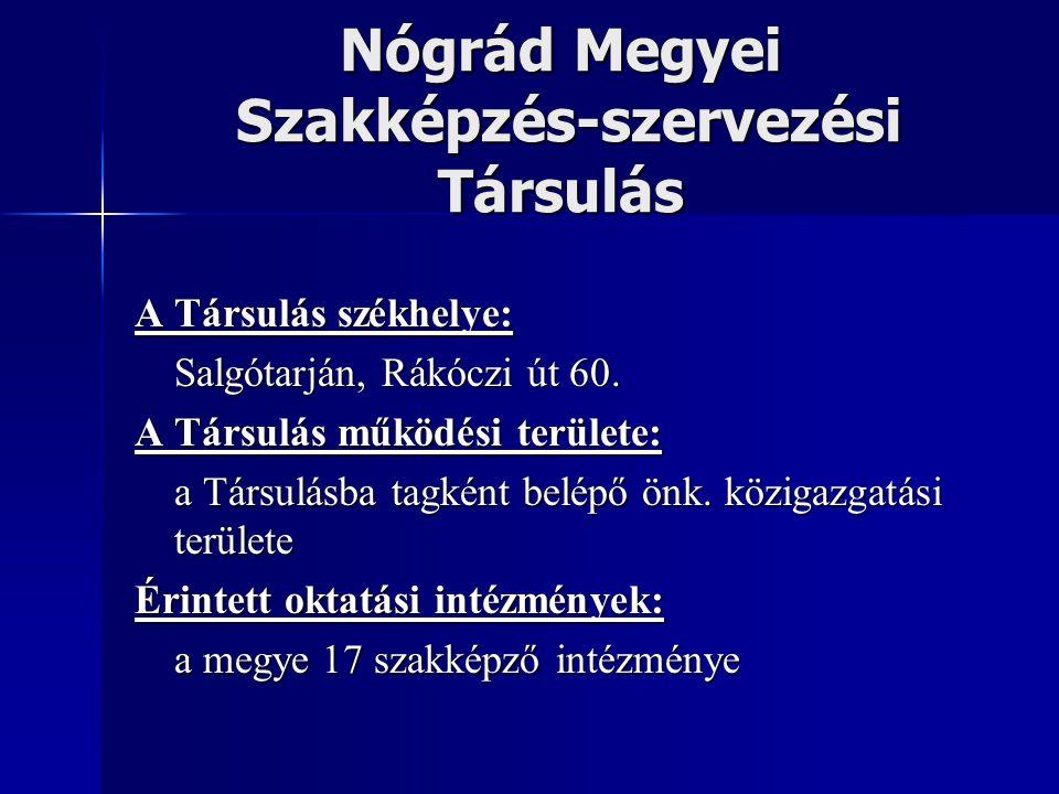 Nógrád Megyei Szakképzés-szervezési Társulás A Társulás székhelye: Salgótarján, Rákóczi út 60. A Társulás működési területe: a Társulásba tagként belé