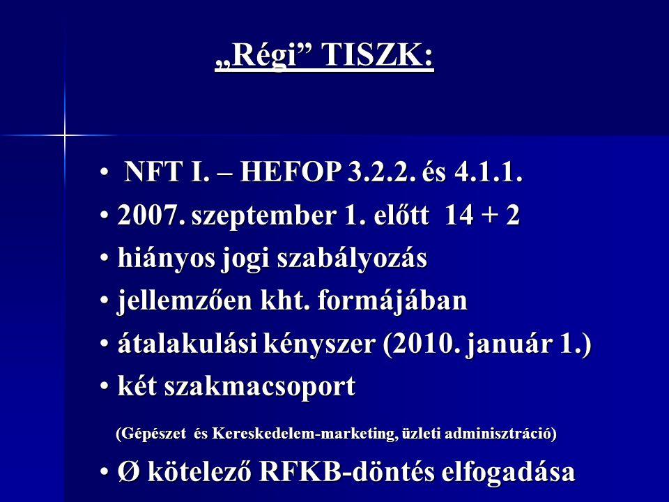 """"""" Új TISZK : """" Új TISZK : taxatív felsorolás (Szt., Kt.) taxatív felsorolás (Szt., Kt.) kötelező az RFKB döntés elfogadása kötelező az RFKB döntés elfogadása 1500 fő (1285) 1500 fő (1285) a szakképzés feladataiban részt vevő a szakképzés feladataiban részt vevő fenntartók hozzák létre (önkormányzati fenntartó, nem állami, nem önkormányzati fenntartó, felsőoktatási intézmény, gazdálkodó szervezet)"""