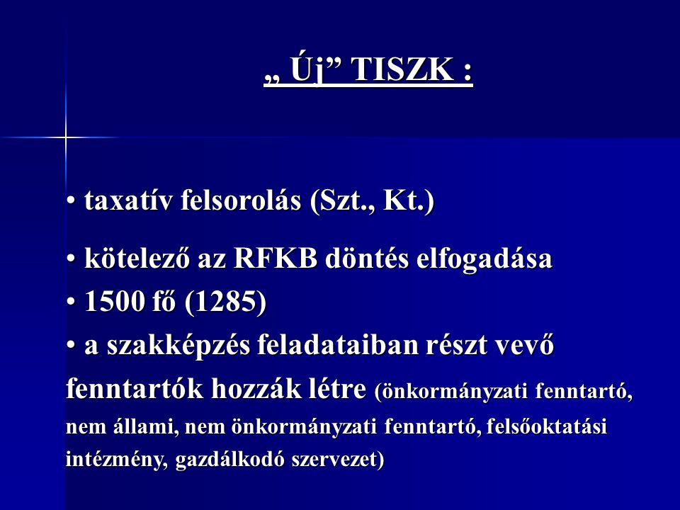 """"""" Új"""" TISZK : """" Új"""" TISZK : taxatív felsorolás (Szt., Kt.) taxatív felsorolás (Szt., Kt.) kötelező az RFKB döntés elfogadása kötelező az RFKB döntés e"""