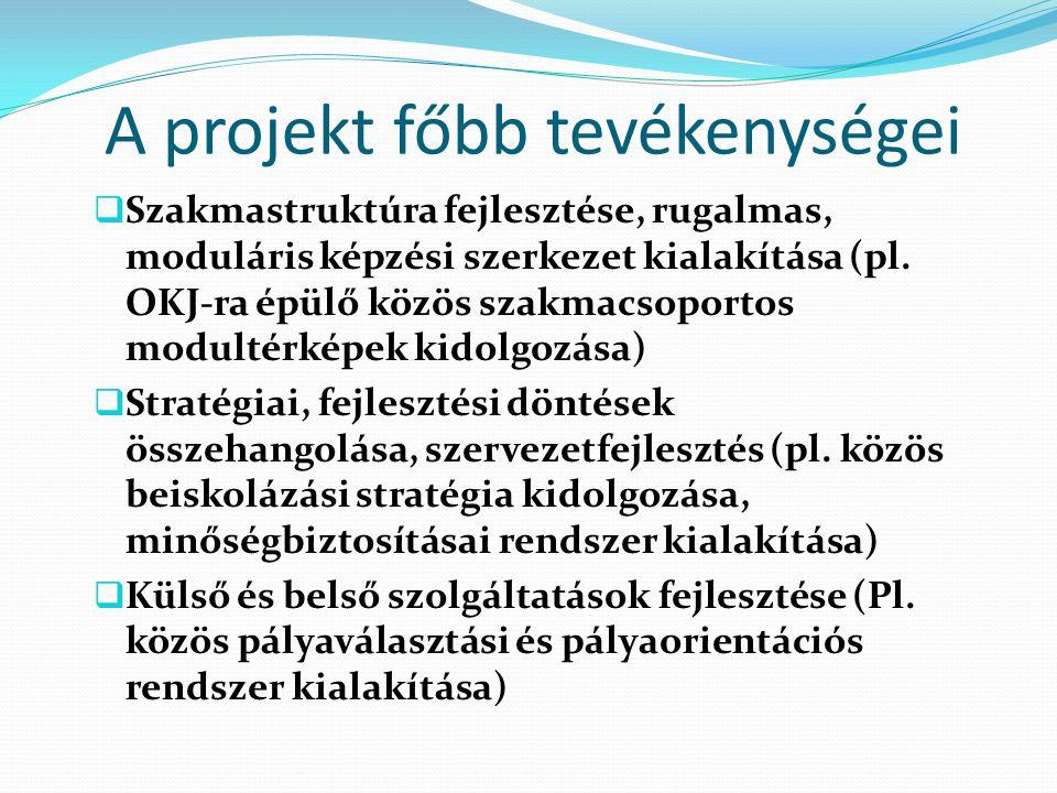 A projekt főbb tevékenységei  Szakmastruktúra fejlesztése, rugalmas, moduláris képzési szerkezet kialakítása (pl.
