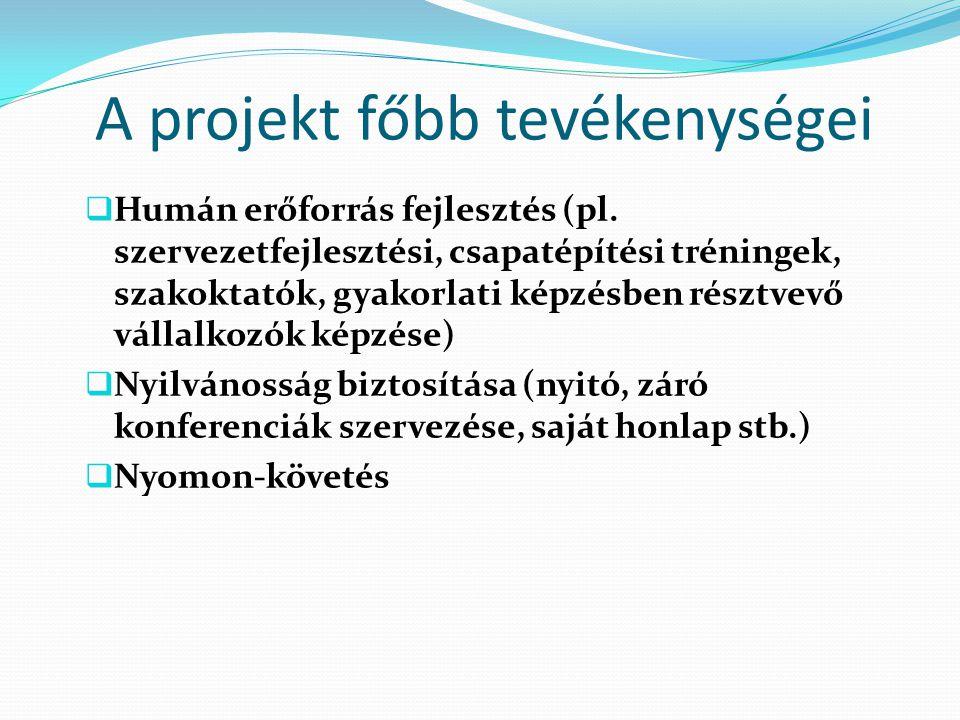 A projekt főbb tevékenységei  Humán erőforrás fejlesztés (pl.