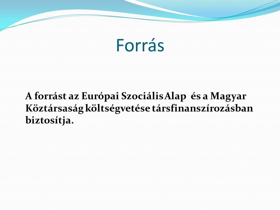 Forrás A forrást az Európai Szociális Alap és a Magyar Köztársaság költségvetése társfinanszírozásban biztosítja.