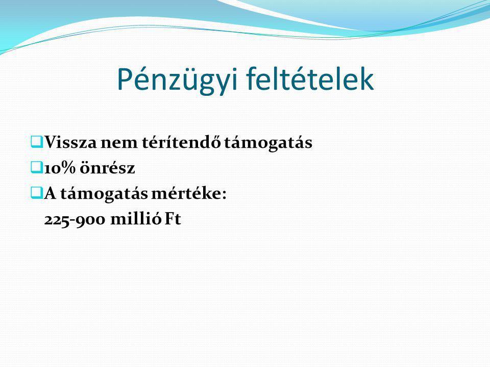 Pénzügyi feltételek  Vissza nem térítendő támogatás  10% önrész  A támogatás mértéke: 225-900 millió Ft