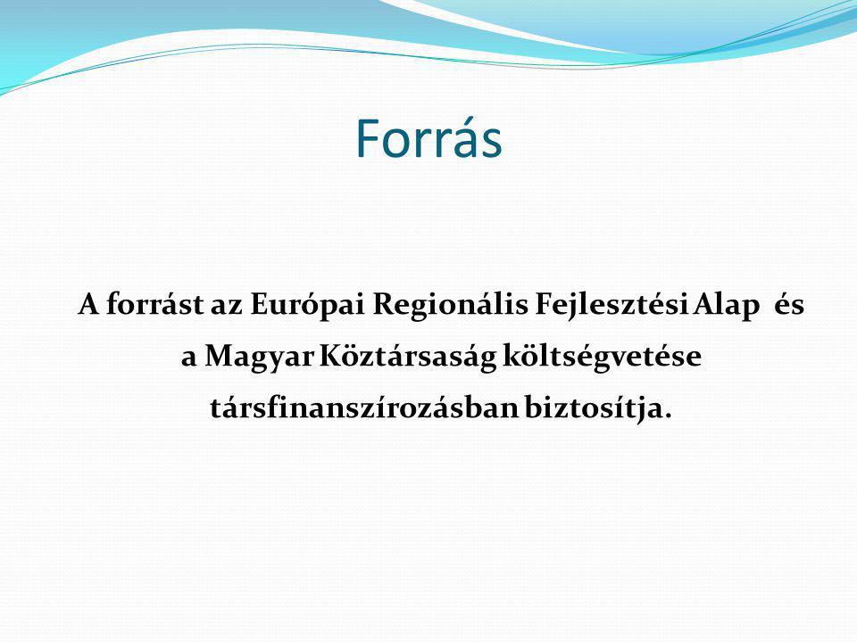 Forrás A forrást az Európai Regionális Fejlesztési Alap és a Magyar Köztársaság költségvetése társfinanszírozásban biztosítja.