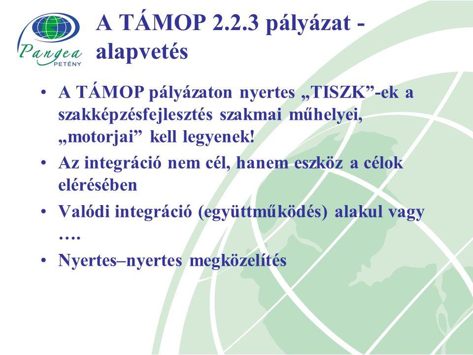 """A TÁMOP 2.2.3 pályázat - alapvetés A TÁMOP pályázaton nyertes """"TISZK -ek a szakképzésfejlesztés szakmai műhelyei, """"motorjai kell legyenek."""