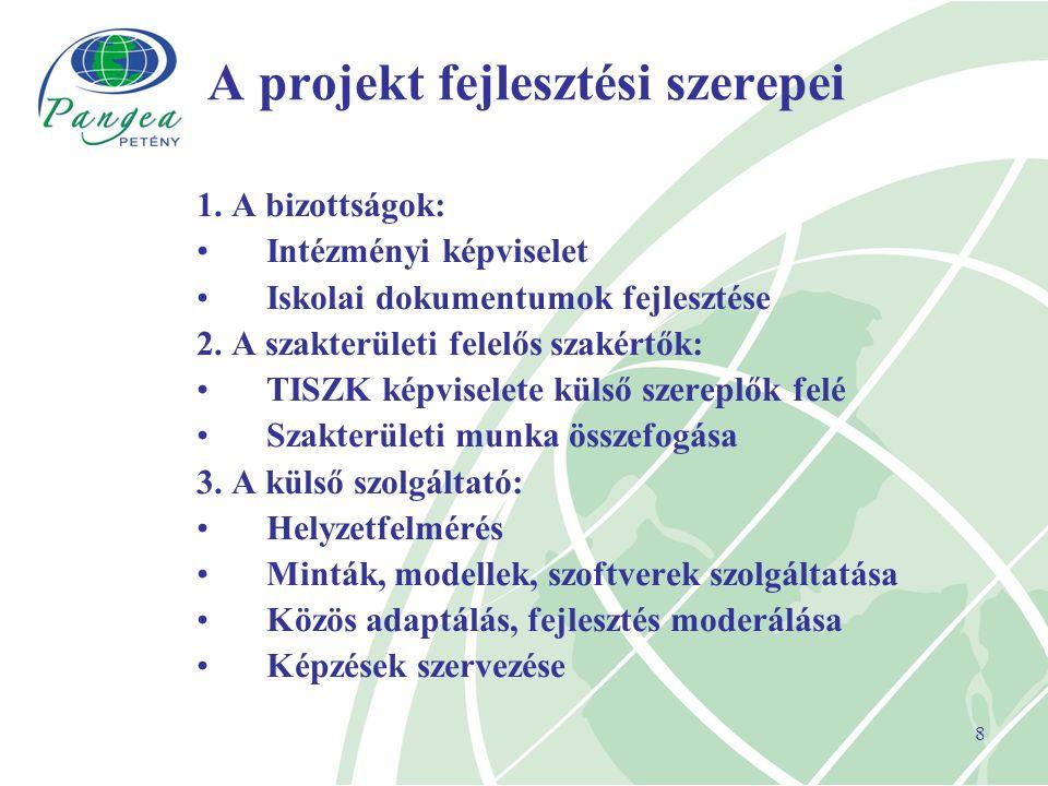 8 A projekt fejlesztési szerepei 1.