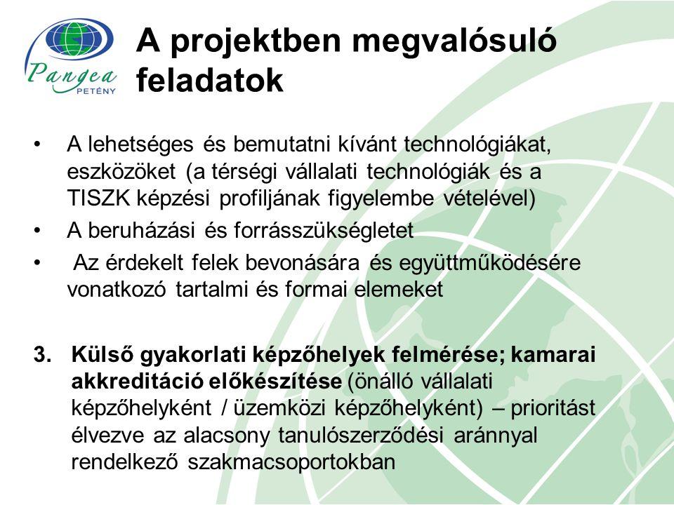 A projektben megvalósuló feladatok A lehetséges és bemutatni kívánt technológiákat, eszközöket (a térségi vállalati technológiák és a TISZK képzési pr