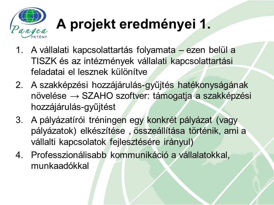 A projekt eredményei 1. 1.A vállalati kapcsolattartás folyamata – ezen belül a TISZK és az intézmények vállalati kapcsolattartási feladatai el lesznek