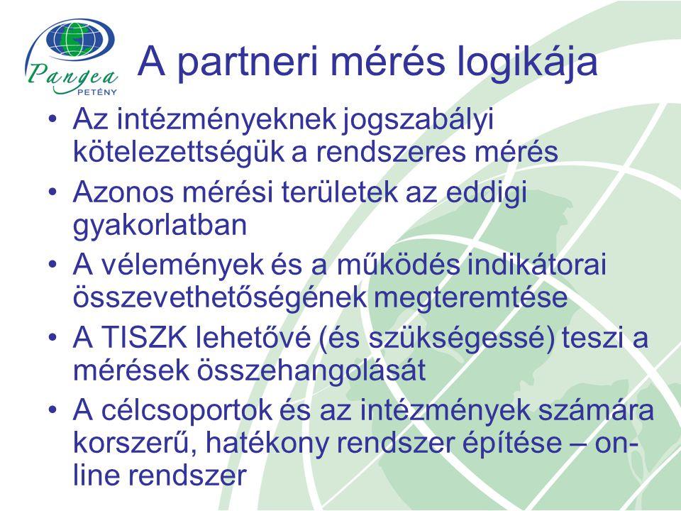 A partneri mérés logikája Az intézményeknek jogszabályi kötelezettségük a rendszeres mérés Azonos mérési területek az eddigi gyakorlatban A vélemények és a működés indikátorai összevethetőségének megteremtése A TISZK lehetővé (és szükségessé) teszi a mérések összehangolását A célcsoportok és az intézmények számára korszerű, hatékony rendszer építése – on- line rendszer
