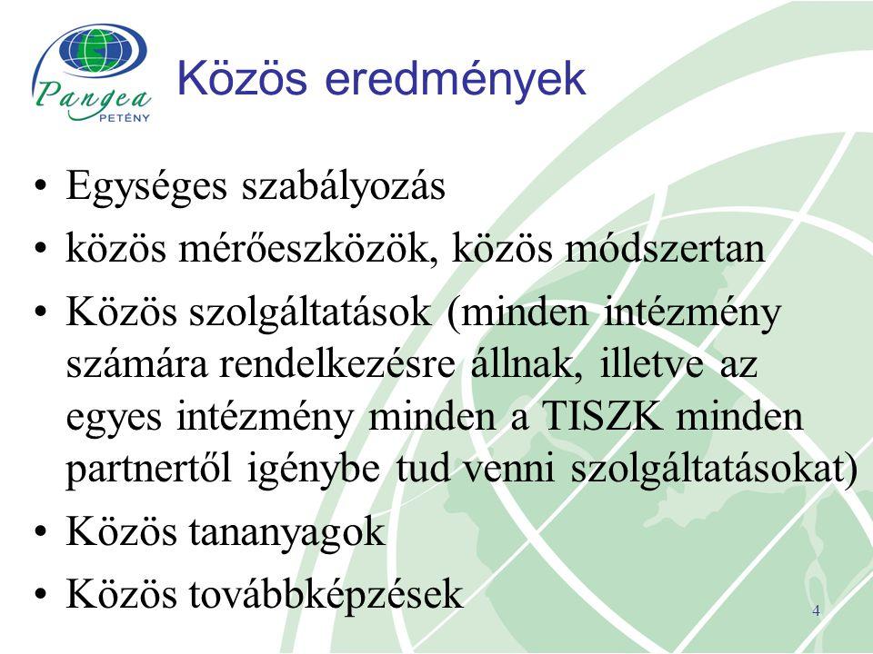 4 Közös eredmények Egységes szabályozás közös mérőeszközök, közös módszertan Közös szolgáltatások (minden intézmény számára rendelkezésre állnak, ille