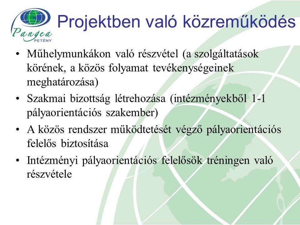 Projektben való közreműködés Műhelymunkákon való részvétel (a szolgáltatások körének, a közös folyamat tevékenységeinek meghatározása) Szakmai bizotts