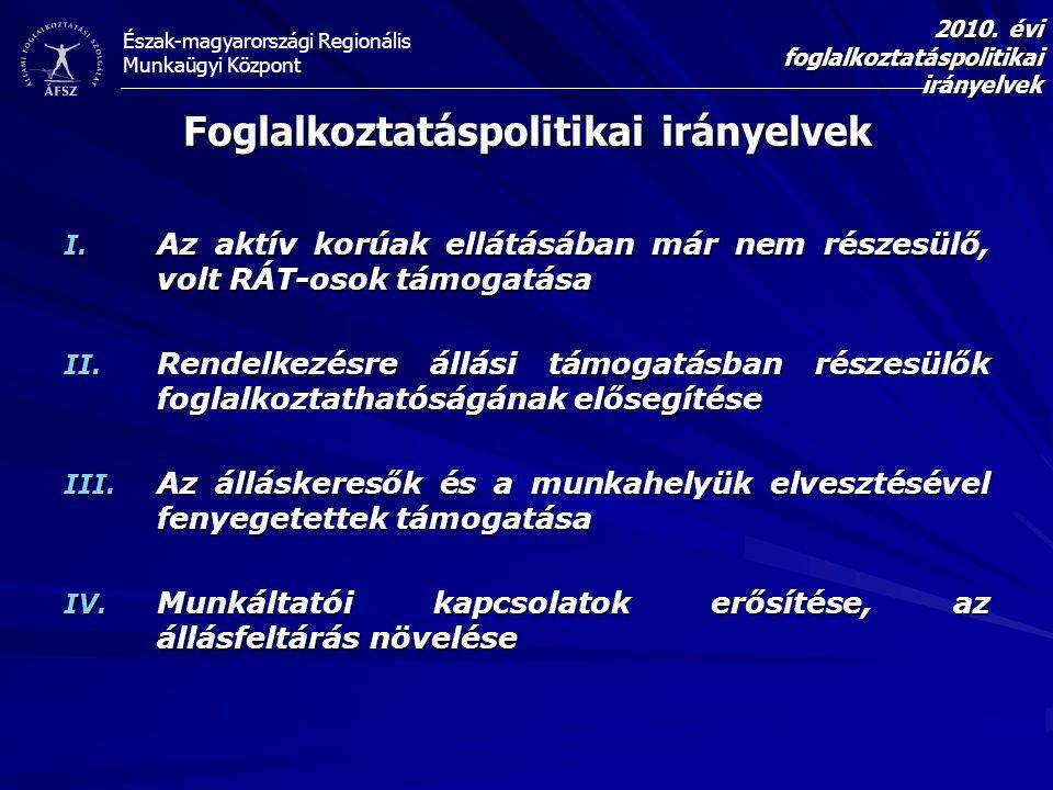 Észak-magyarországi Regionális Munkaügyi Központ Foglalkoztatáspolitikai irányelvek I. Az aktív korúak ellátásában már nem részesülő, volt RÁT-osok tá
