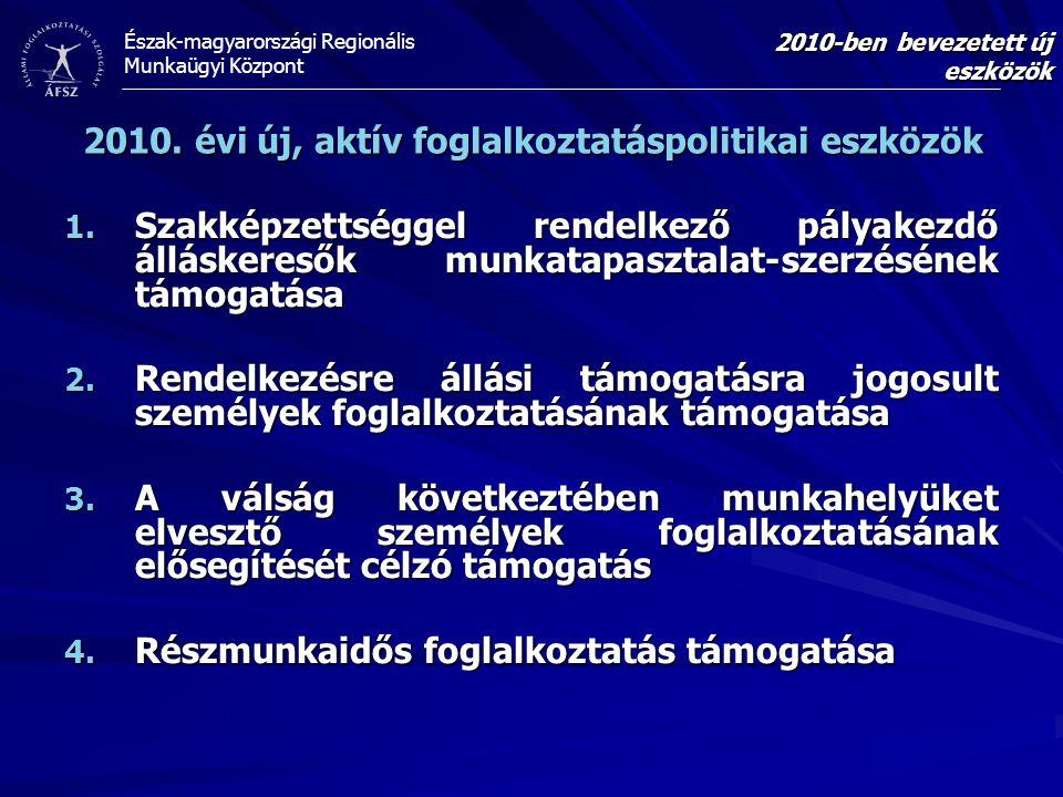 Észak-magyarországi Regionális Munkaügyi Központ 2010-ben bevezetett új eszközök 1. Szakképzettséggel rendelkező pályakezdő álláskeresők munkatapaszta