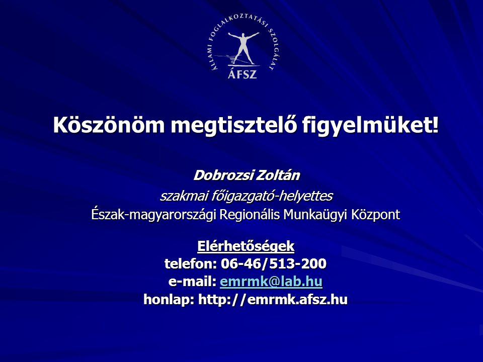 Köszönöm megtisztelő figyelmüket! Dobrozsi Zoltán szakmai főigazgató-helyettes Észak-magyarországi Regionális Munkaügyi Központ Elérhetőségek telefon: