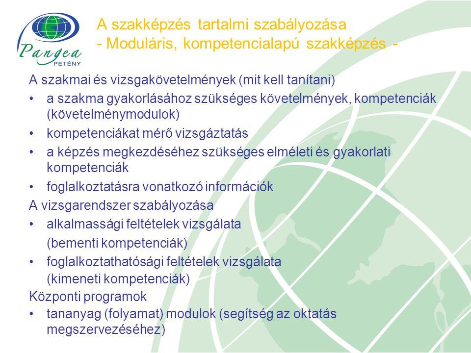 A szakképzés tartalmi szabályozása - Moduláris, kompetencialapú szakképzés - A szakmai és vizsgakövetelmények (mit kell tanítani) a szakma gyakorlásához szükséges követelmények, kompetenciák (követelménymodulok) kompetenciákat mérő vizsgáztatás a képzés megkezdéséhez szükséges elméleti és gyakorlati kompetenciák foglalkoztatásra vonatkozó információk A vizsgarendszer szabályozása alkalmassági feltételek vizsgálata (bementi kompetenciák) foglalkoztathatósági feltételek vizsgálata (kimeneti kompetenciák) Központi programok tananyag (folyamat) modulok (segítség az oktatás megszervezéséhez)