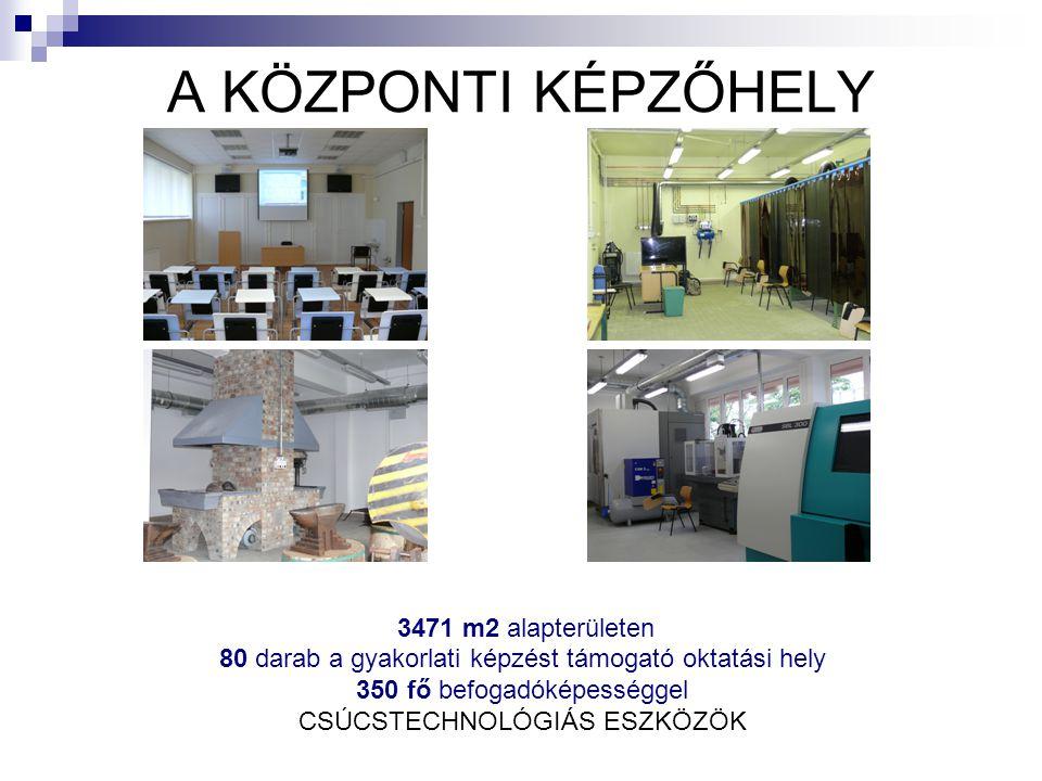 A KÖZPONTI KÉPZŐHELY 3471 m2 alapterületen 80 darab a gyakorlati képzést támogató oktatási hely 350 fő befogadóképességgel CSÚCSTECHNOLÓGIÁS ESZKÖZÖK