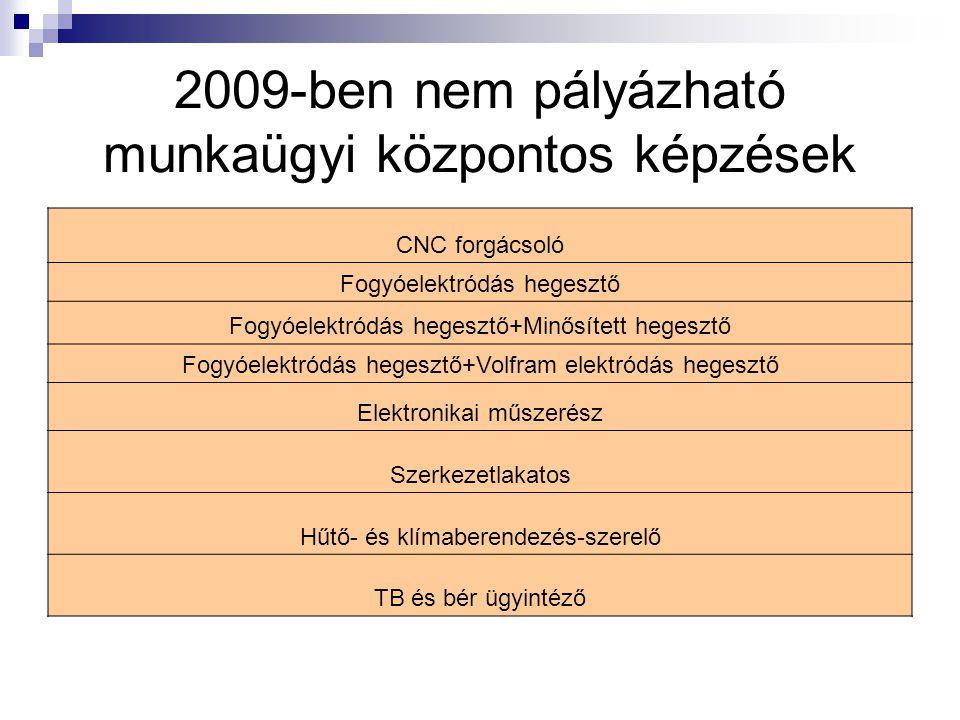 2009-ben nem pályázható munkaügyi központos képzések CNC forgácsoló Fogyóelektródás hegesztő Fogyóelektródás hegesztő+Minősített hegesztő Fogyóelektródás hegesztő+Volfram elektródás hegesztő Elektronikai műszerész Szerkezetlakatos Hűtő- és klímaberendezés-szerelő TB és bér ügyintéző