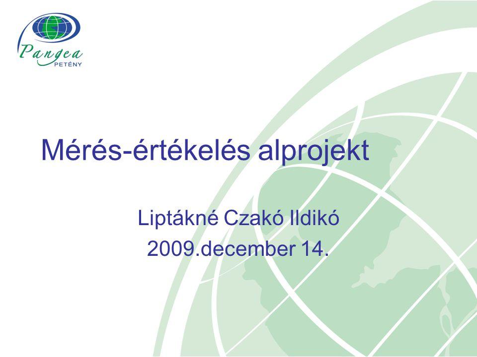 Mérés-értékelés alprojekt Liptákné Czakó Ildikó 2009.december 14.