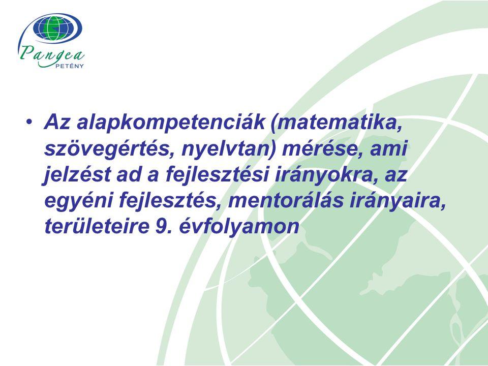 Az alapkompetenciák (matematika, szövegértés, nyelvtan) mérése, ami jelzést ad a fejlesztési irányokra, az egyéni fejlesztés, mentorálás irányaira, területeire 9.