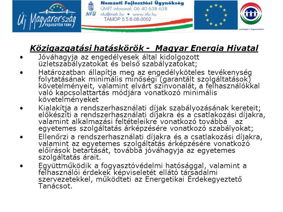 TÁMOP 5.5.6-08-0002 Közigazgatási hatáskörök - Magyar Energia Hivatal Jóváhagyja az engedélyesek által kidolgozott üzletszabályzatokat és belső szabályzatokat; Határozatban állapítja meg az engedélyköteles tevékenység folytatásának minimális minőségi (garantált szolgáltatások) követelményeit, valamint elvárt színvonalát, a felhasználókkal való kapcsolattartás módjára vonatkozó minimális követelményeket Kialakítja a rendszerhasználati díjak szabályozásának kereteit; előkészíti a rendszerhasználati díjakra és a csatlakozási díjakra, valamint alkalmazási feltételeikre vonatkozó továbbá az egyetemes szolgáltatás árképzésére vonatkozó szabályokat; Ellenőrzi a rendszerhasználati díjakra és a csatlakozási díjakra, valamint az egyetemes szolgáltatás árképzésére vonatkozó előírások betartását, továbbá jóváhagyja az egyetemes szolgáltatás árait.