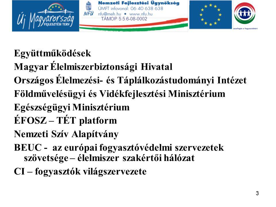 TÁMOP 5.5.6-08-0002 3 Együttműködések Magyar Élelmiszerbiztonsági Hivatal Országos Élelmezési- és Táplálkozástudományi Intézet Földművelésügyi és Vidékfejlesztési Minisztérium Egészségügyi Minisztérium ÉFOSZ – TÉT platform Nemzeti Szív Alapítvány BEUC - az európai fogyasztóvédelmi szervezetek szövetsége – élelmiszer szakértői hálózat CI – fogyasztók világszervezete
