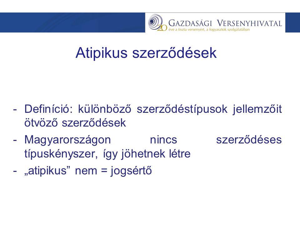 """Atipikus szerződések -Definíció: különböző szerződéstípusok jellemzőit ötvöző szerződések -Magyarországon nincs szerződéses típuskényszer, így jöhetnek létre -""""atipikus nem = jogsértő"""