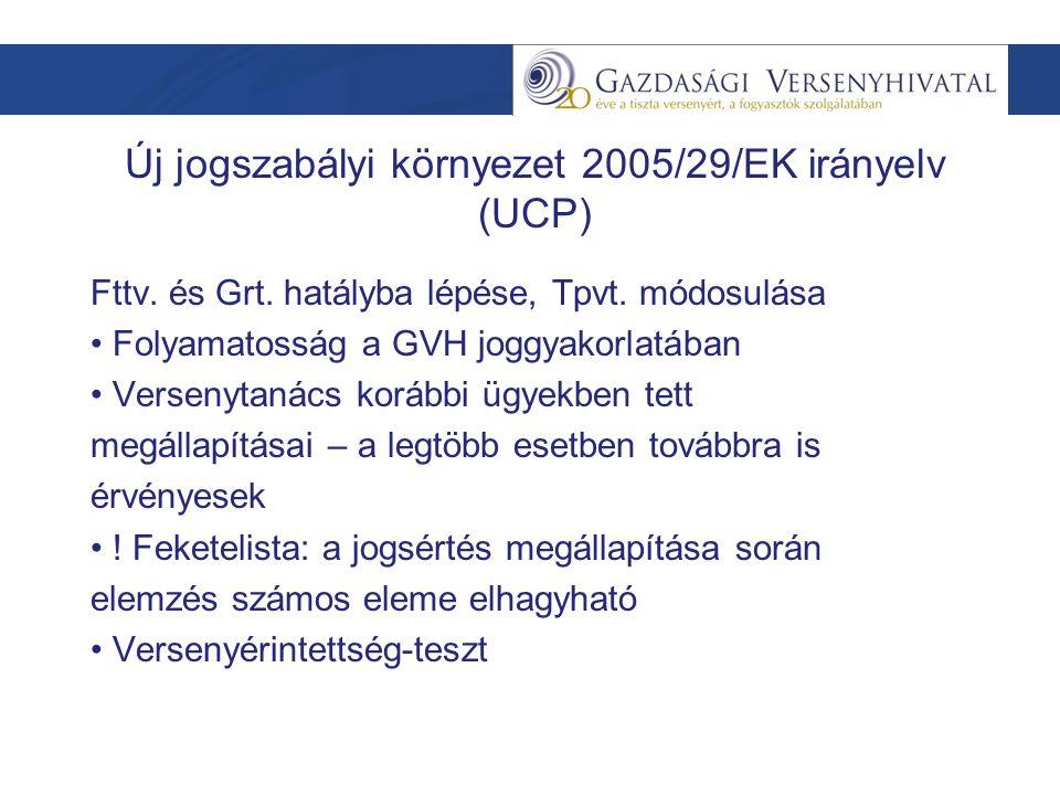 Új jogszabályi környezet 2005/29/EK irányelv (UCP) Fttv.