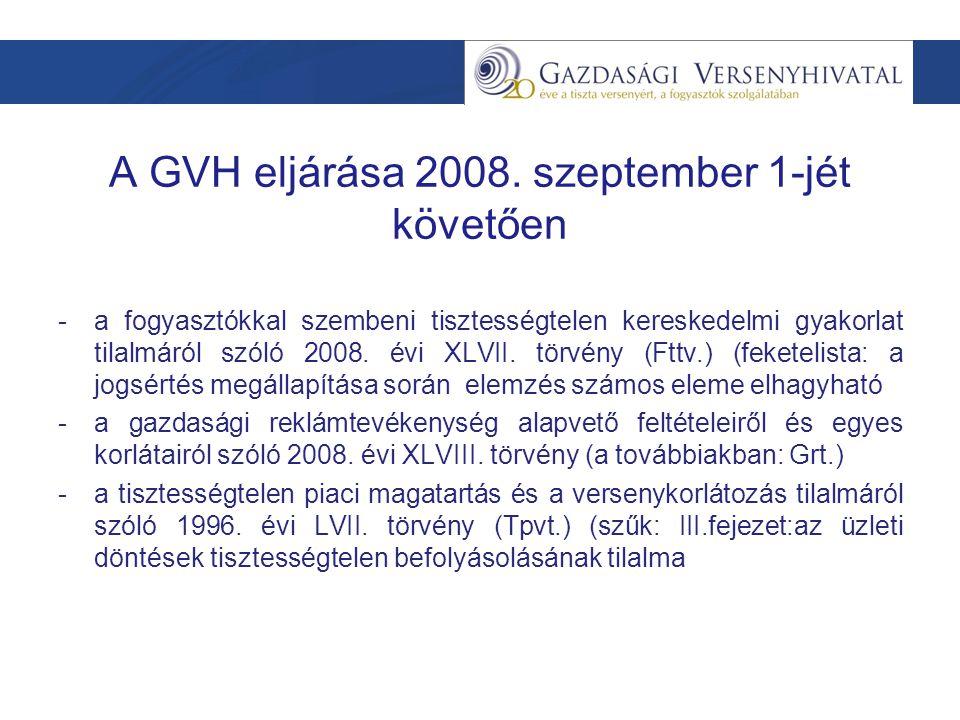 A GVH eljárása Panasz, bejelentés Versenyfelügyeleti eljárás –Vizsgálói szakasz – vizsgálati jelentés –Versenytanácsi szakasz –VT-döntés Megszüntetés Megszüntetés kötelezettségvállalással Határozat