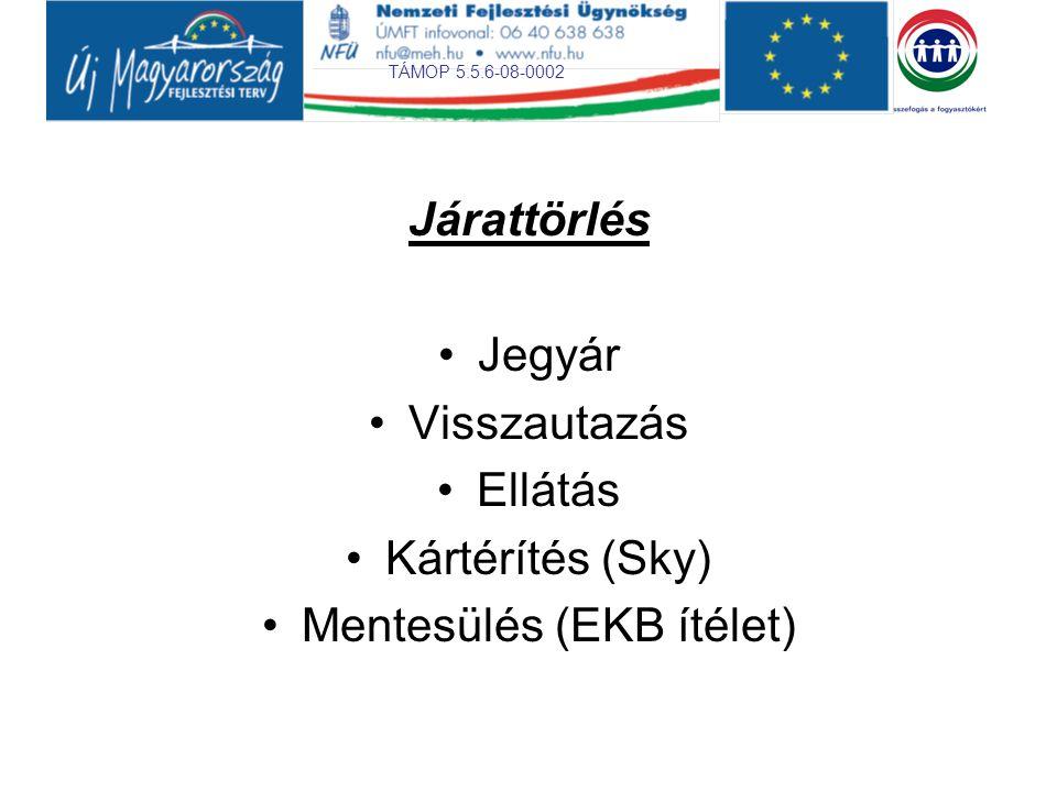 TÁMOP 5.5.6-08-0002 Járattörlés Jegyár Visszautazás Ellátás Kártérítés (Sky) Mentesülés (EKB ítélet)