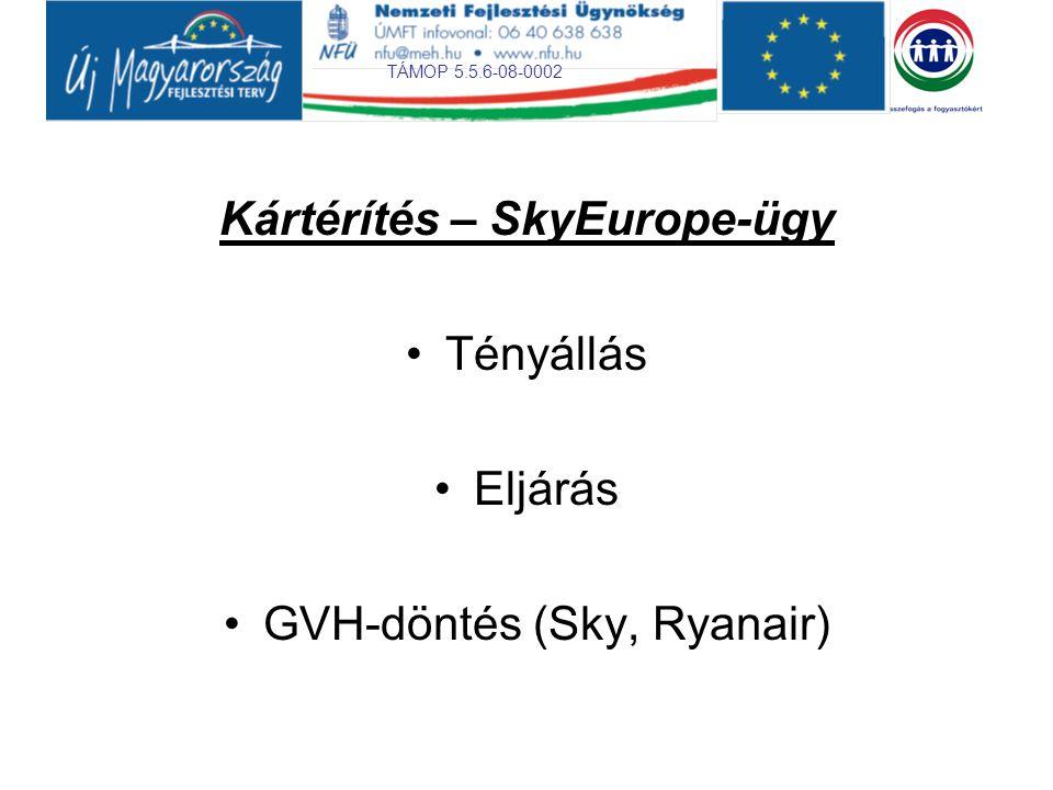 TÁMOP 5.5.6-08-0002 Kártérítés – SkyEurope-ügy Tényállás Eljárás GVH-döntés (Sky, Ryanair)