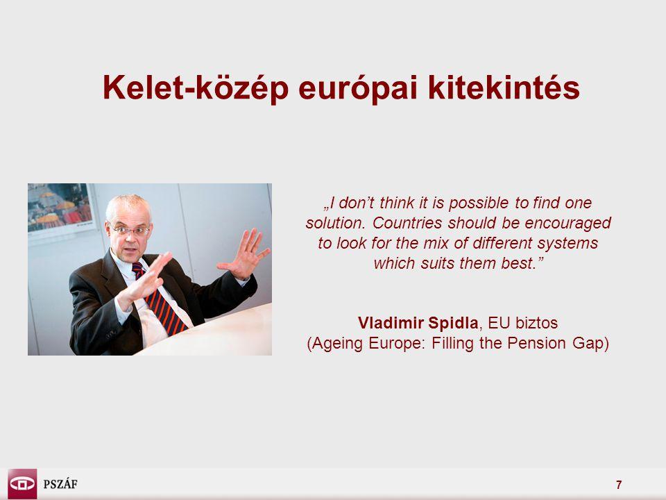 8 Kelet-közép európai kitekintés Bulgária: 2010-től:  enyhítik a második pillérben a befektetési korlátozásokat: megengedett részvényhányad: 20-ról 25%-ra megengedett vállalati kötvényhányad: 25-ről 40%-ra  a harmadik pillérben bevezetik a választható portfoliós rendszert, az önkéntes pénztárak háromféle portfoliót kínálnak majd: agresszív (akár 80% részvénykitettség) kiegyensúlyozott (max.