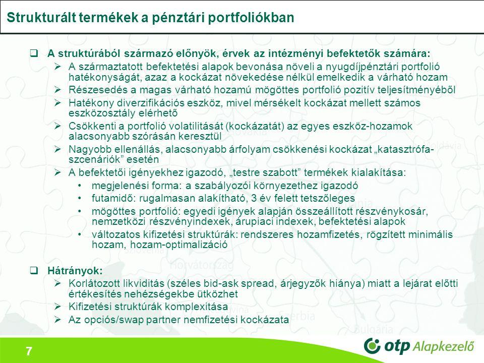 7  A struktúrából származó előnyök, érvek az intézményi befektetők számára:  A származtatott befektetési alapok bevonása növeli a nyugdíjpénztári po