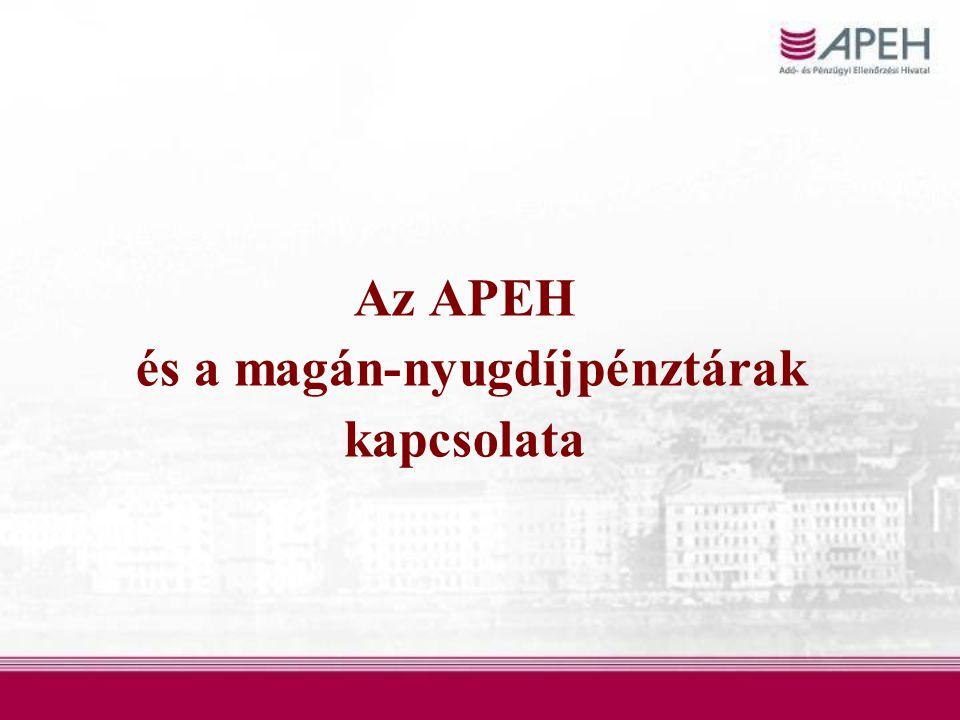 Az APEH és a magán-nyugdíjpénztárak kapcsolata