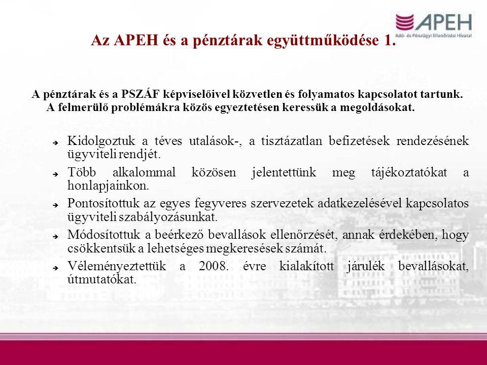 Az APEH és a pénztárak együttműködése 1.