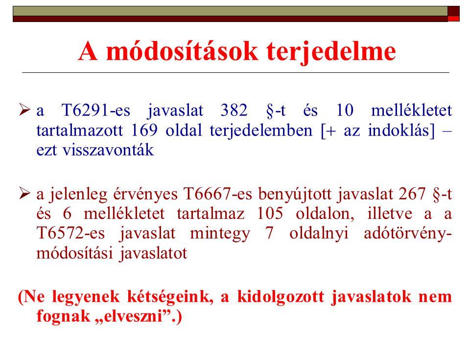 A módosítások terjedelme  a T6291-es javaslat 382 §-t és 10 mellékletet tartalmazott 169 oldal terjedelemben [  az indoklás] – ezt visszavonták  a