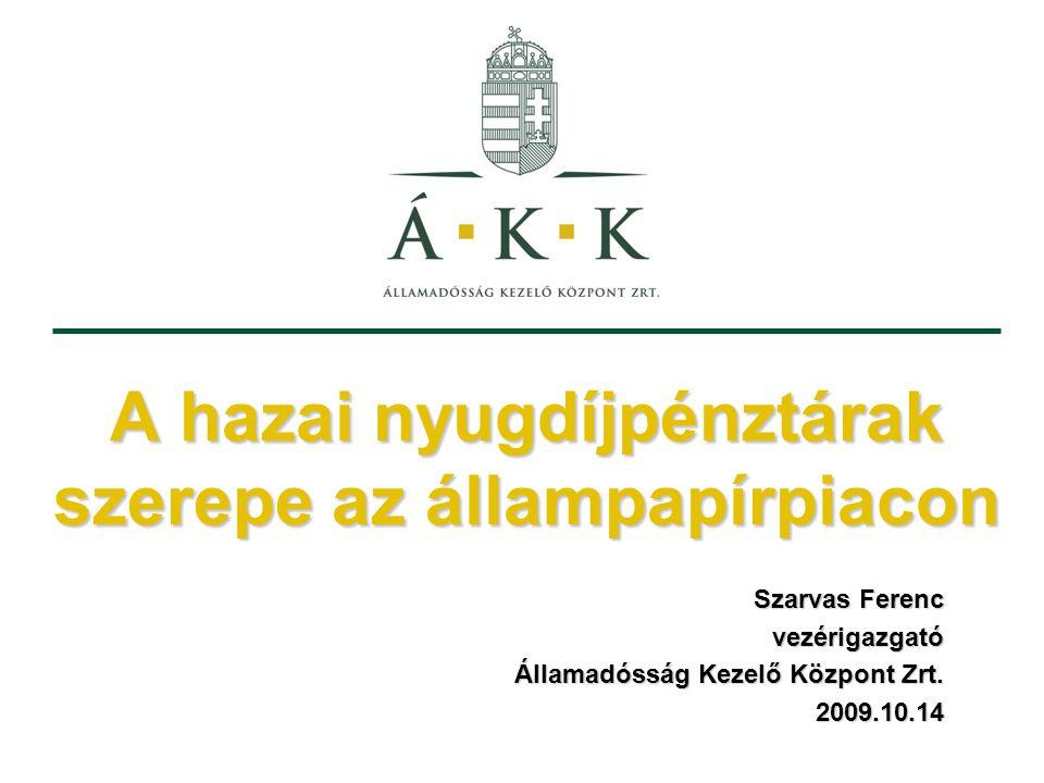 A hazai nyugdíjpénztárak szerepe az állampapírpiacon Szarvas Ferenc vezérigazgató Államadósság Kezelő Központ Zrt.