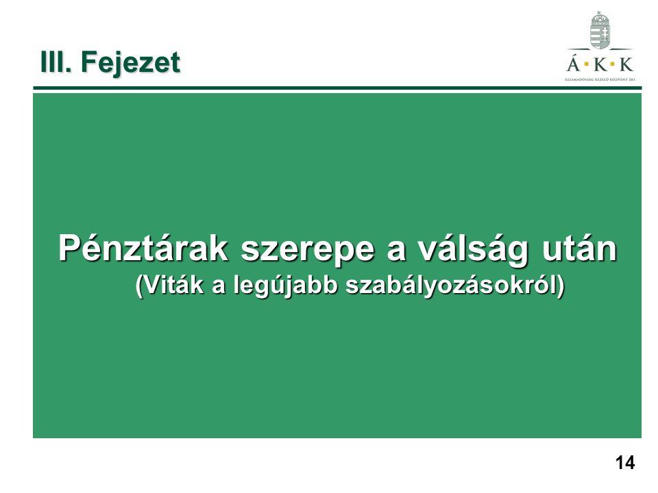 14 III. Fejezet Pénztárak szerepe a válság után (Viták a legújabb szabályozásokról)