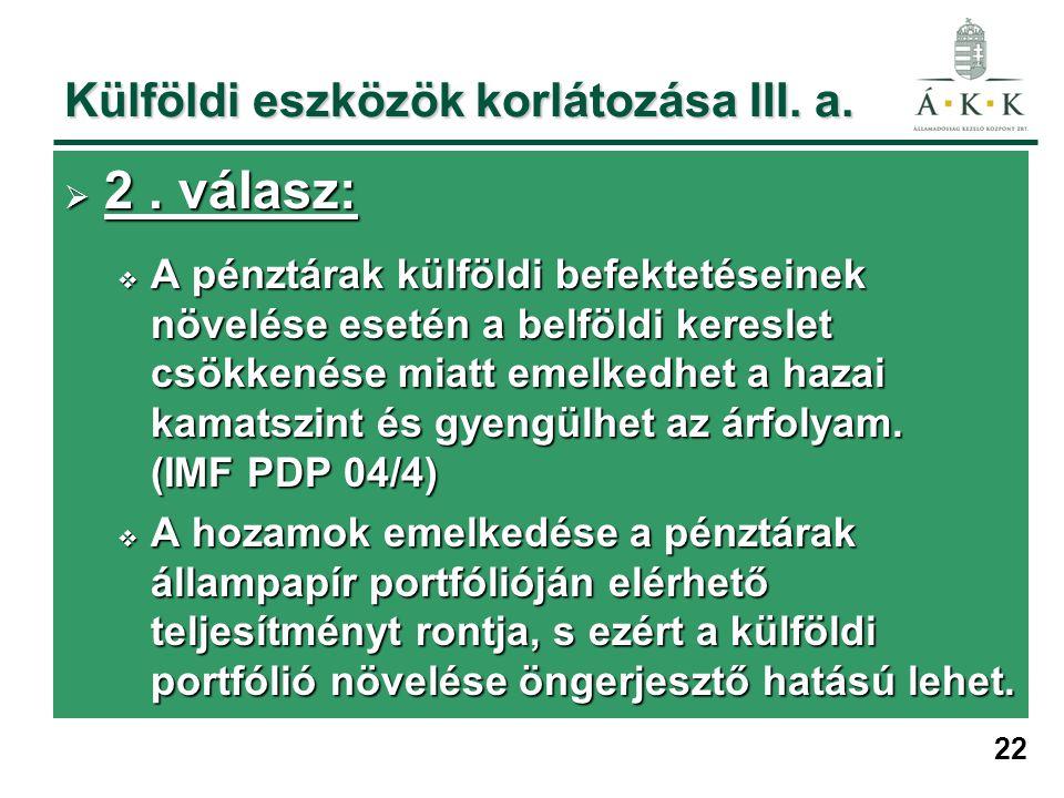 22 Külföldi eszközök korlátozása III. a.  2. válasz:  A pénztárak külföldi befektetéseinek növelése esetén a belföldi kereslet csökkenése miatt emel
