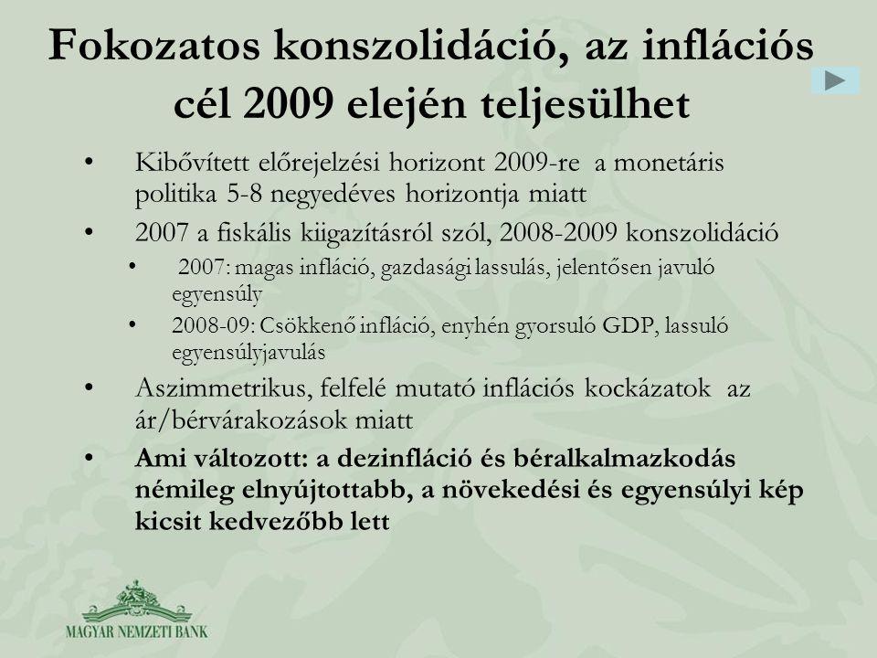 Kibővített előrejelzési horizont 2009-re a monetáris politika 5-8 negyedéves horizontja miatt 2007 a fiskális kiigazításról szól, 2008-2009 konszolidáció 2007: magas infláció, gazdasági lassulás, jelentősen javuló egyensúly 2008-09: Csökkenő infláció, enyhén gyorsuló GDP, lassuló egyensúlyjavulás Aszimmetrikus, felfelé mutató inflációs kockázatok az ár/bérvárakozások miatt Ami változott: a dezinfláció és béralkalmazkodás némileg elnyújtottabb, a növekedési és egyensúlyi kép kicsit kedvezőbb lett Fokozatos konszolidáció, az inflációs cél 2009 elején teljesülhet
