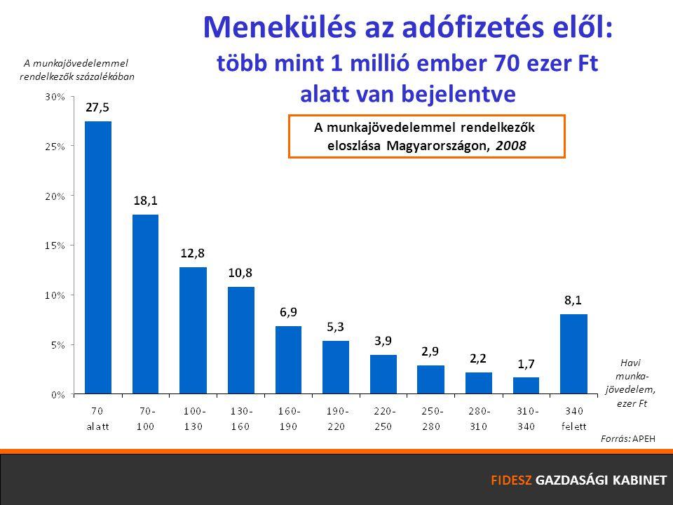 FIDESZ GAZDASÁGI KABINET Havi munka- jövedelem, ezer Ft A munkajövedelemmel rendelkezők százalékában Menekülés az adófizetés elől: több mint 1 millió ember 70 ezer Ft alatt van bejelentve Forrás: APEH A munkajövedelemmel rendelkezők eloszlása Magyarországon, 2008