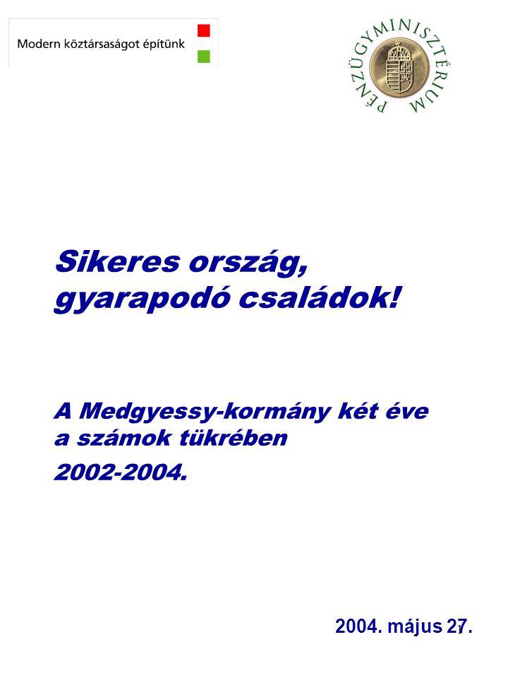 1 Sikeres ország, gyarapodó családok! A Medgyessy-kormány két éve a számok tükrében 2002-2004. 2004. május 27.